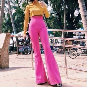 Pants - High waisted Pink flare pants trousers